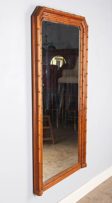 Napoleon III French Colonial Style Bamboo Mirror, Late 1800s For Sale 4