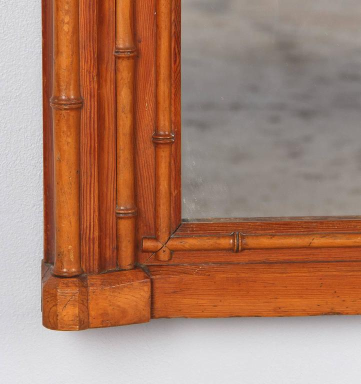 Napoleon III French Colonial Style Bamboo Mirror, Late 1800s For Sale 3