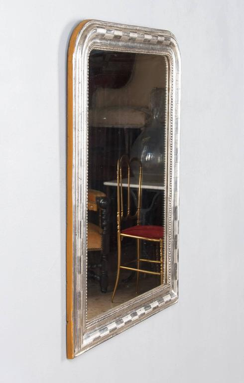 Antique French Louis Philippe Silver Gilt Mirror, 19th Century For Sale 2
