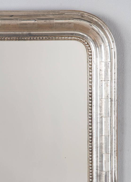 Antique French Louis Philippe Silver Gilt Mirror, 19th Century In Good Condition For Sale In Austin, TX