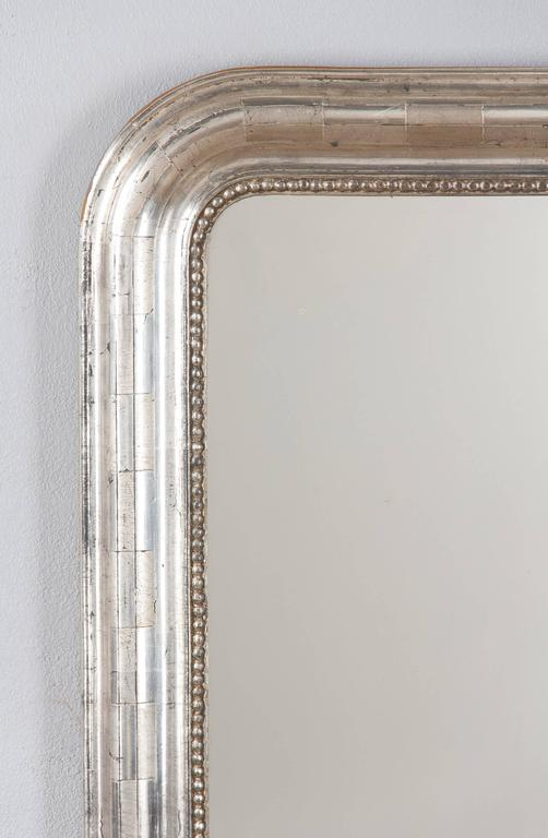 Silvered Antique French Louis Philippe Silver Gilt Mirror, 19th Century For Sale