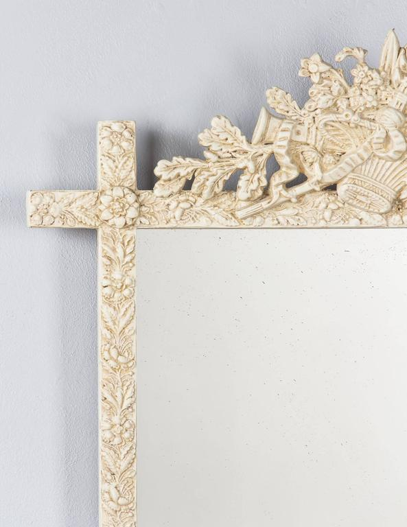 French Louis XVI Style Painted Mirror, Late 1800s In Good Condition For Sale In Austin, TX