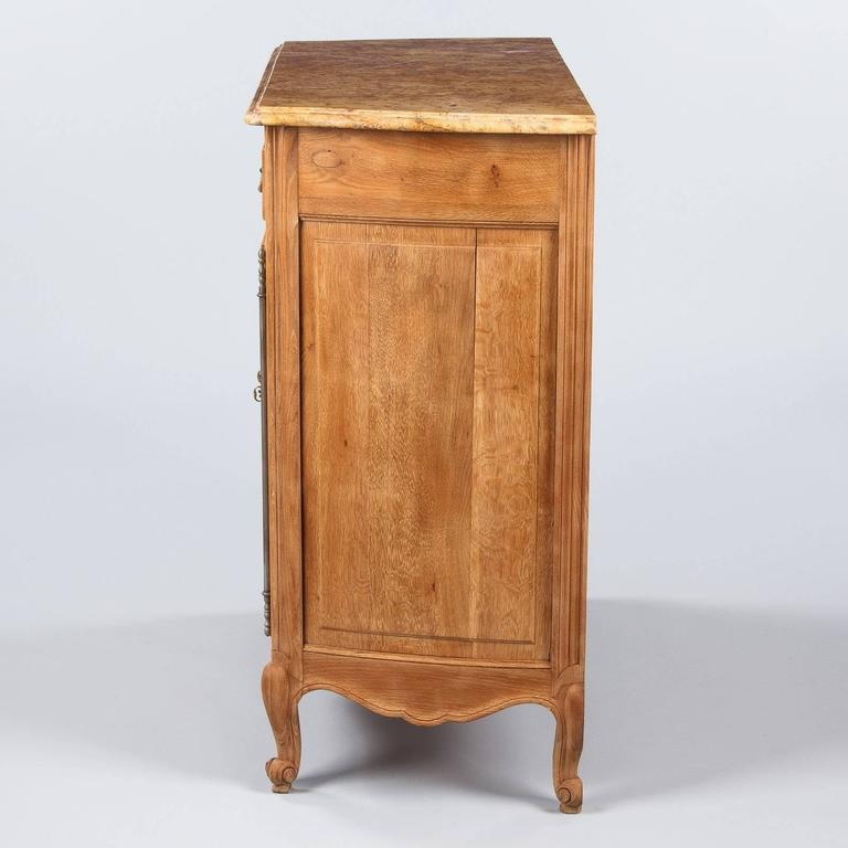 Louis XV Style Marble-Top Natural Oak Buffet, circa 1920s For Sale 1