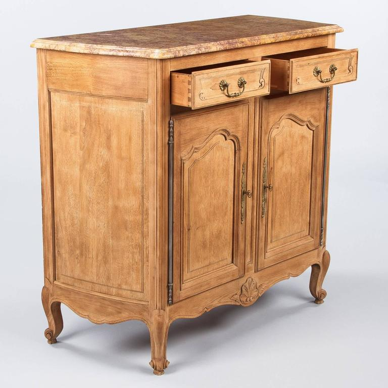 French Louis XV Style Marble-Top Natural Oak Buffet, circa 1920s For Sale