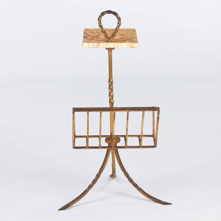 Spanish Mid-Century Gilded Metal Side Table with Magazine Holder 8