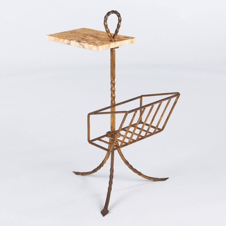 Mid-Century Modern Spanish Mid-Century Gilded Metal Side Table with Magazine Holder For Sale