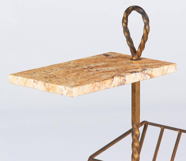 Gilt Spanish Mid-Century Gilded Metal Side Table with Magazine Holder For Sale