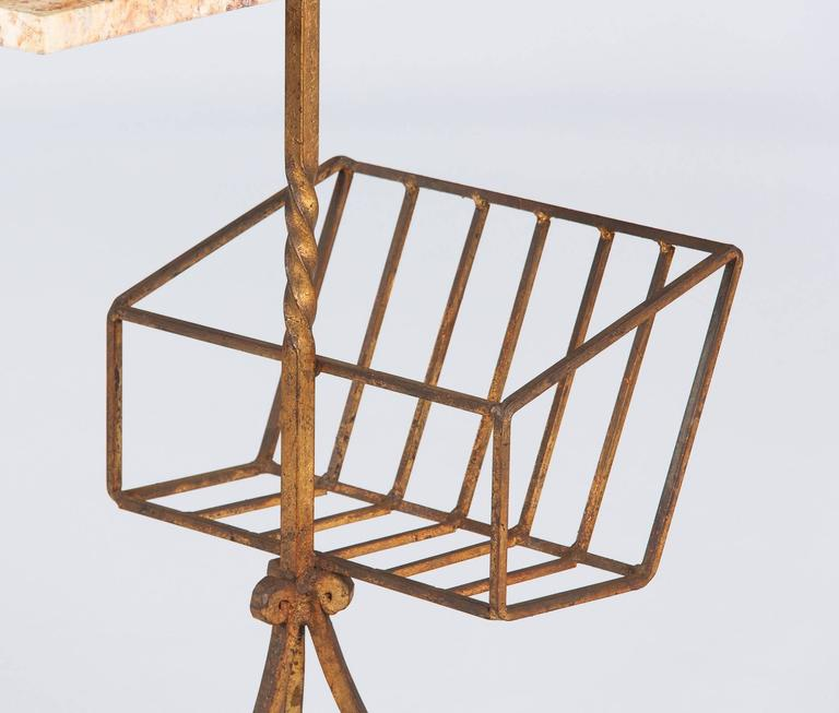 Spanish Mid-Century Gilded Metal Side Table with Magazine Holder 6