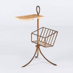 Spanish Mid Century Gilded Metal Side Table with Magazine Holder