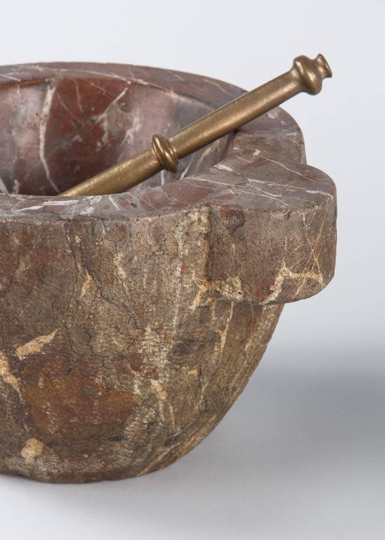 French Apothecary Marble Mortar with Brass Pestle, 19th Century 3
