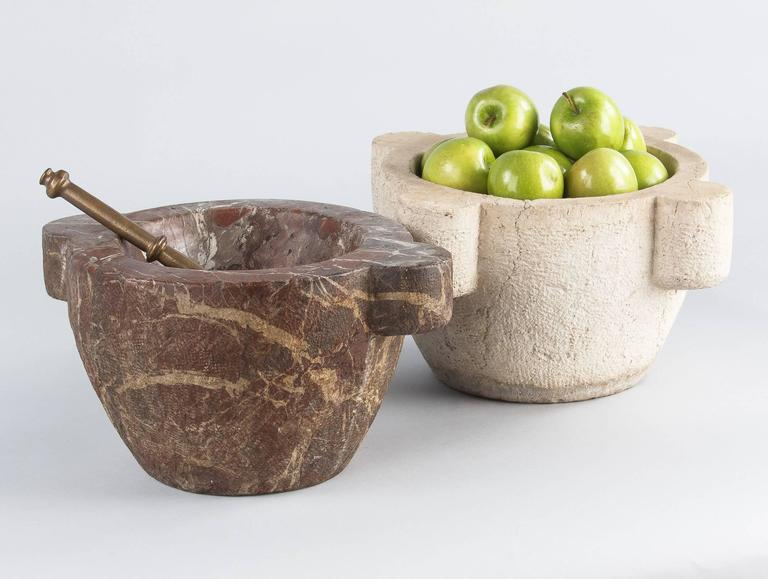 French Apothecary Marble Mortar with Brass Pestle, 19th Century 2