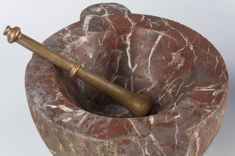 French Apothecary Marble Mortar with Brass Pestle, 19th Century 5