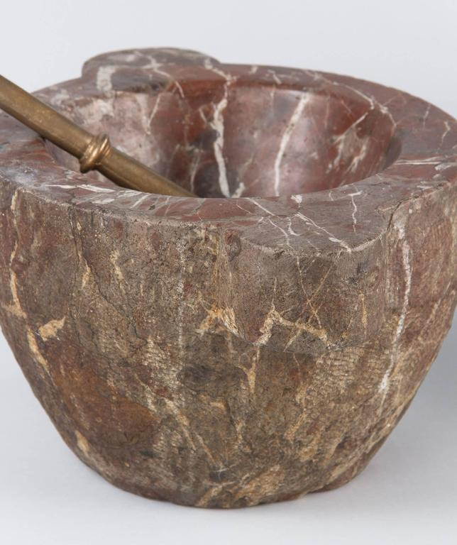 French Apothecary Marble Mortar with Brass Pestle, 19th Century 9