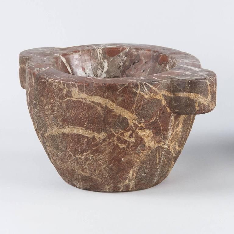 French Apothecary Marble Mortar with Brass Pestle, 19th Century 8