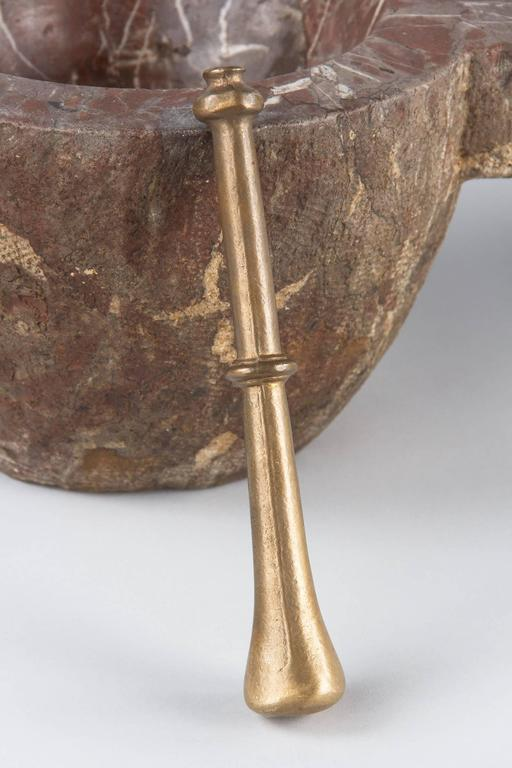 French Apothecary Marble Mortar with Brass Pestle, 19th Century 4