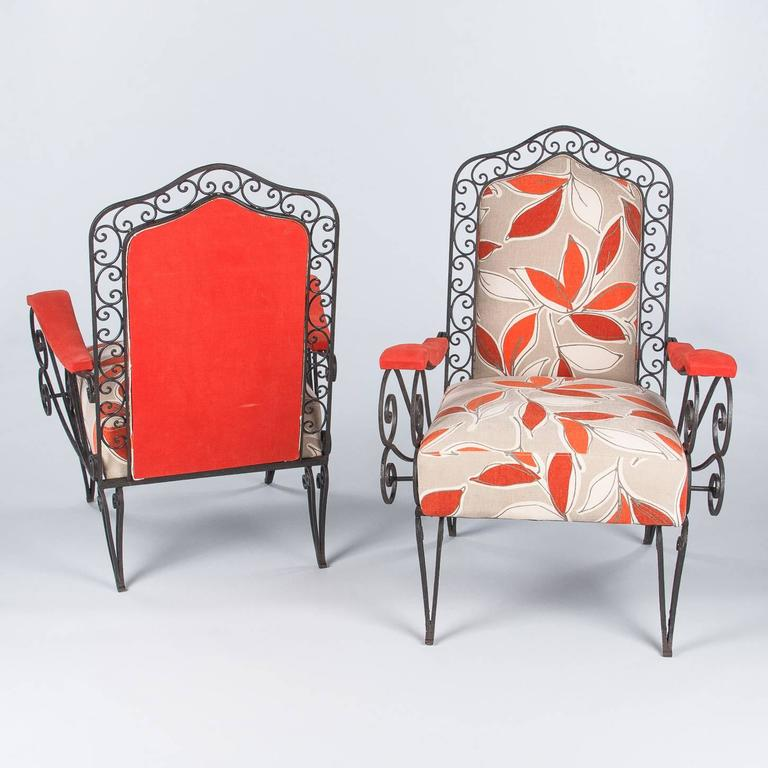 Mid-20th Century Pair of French 1940s Wrought Iron Upholstered Armchairs For Sale