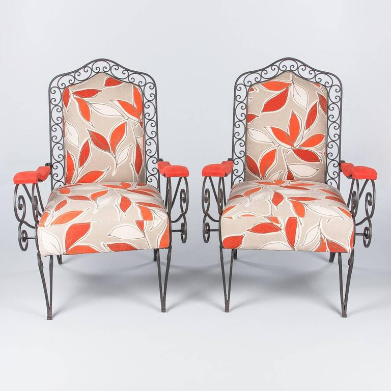 Pair of French 1940s Wrought Iron Upholstered Armchairs In Good Condition For Sale In Austin, TX