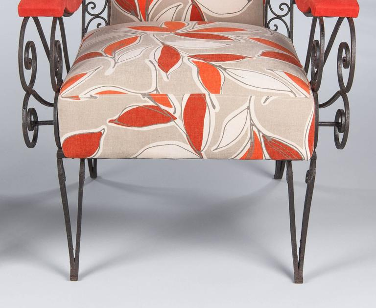 Pair of French 1940s Wrought Iron Upholstered Armchairs For Sale 4