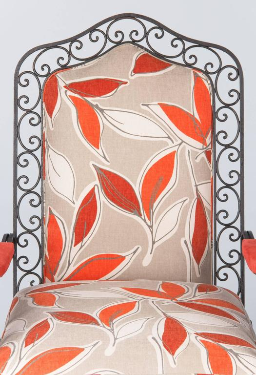 Fabric Pair of French 1940s Wrought Iron Upholstered Armchairs For Sale