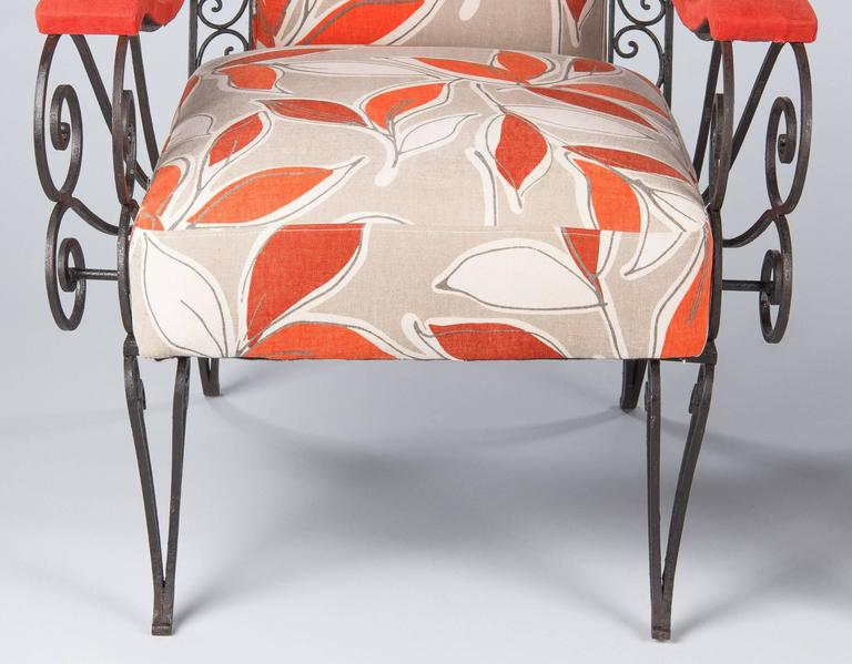 Pair of French 1940s Wrought Iron Upholstered Armchairs For Sale 1