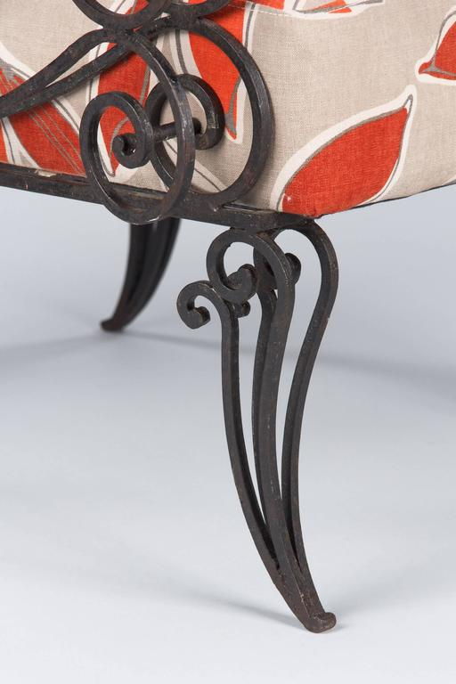 Pair of French 1940s Wrought Iron Upholstered Armchairs For Sale 5