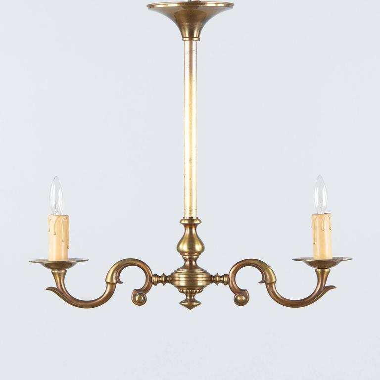 Pair of 1940s French Brass Chandeliers In Good Condition For Sale In Austin, TX