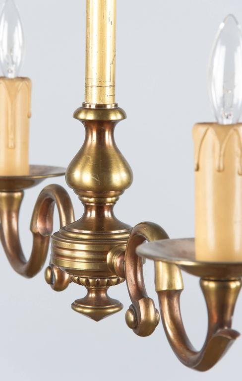 Pair of 1940s French Brass Chandeliers For Sale 2