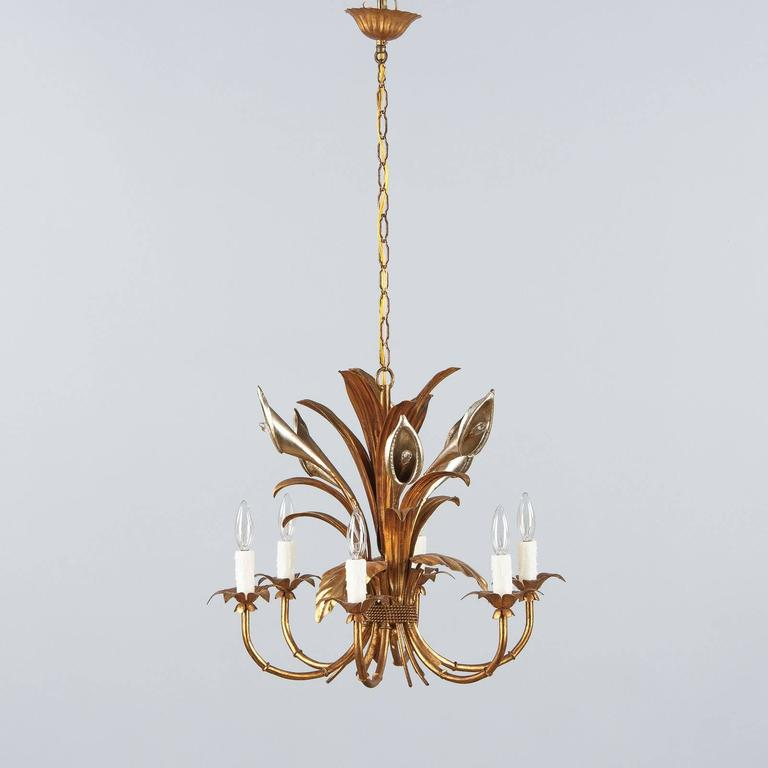 Mid-Century Modern Pair of French Gilded Metal Chandeliers, 1950s For Sale