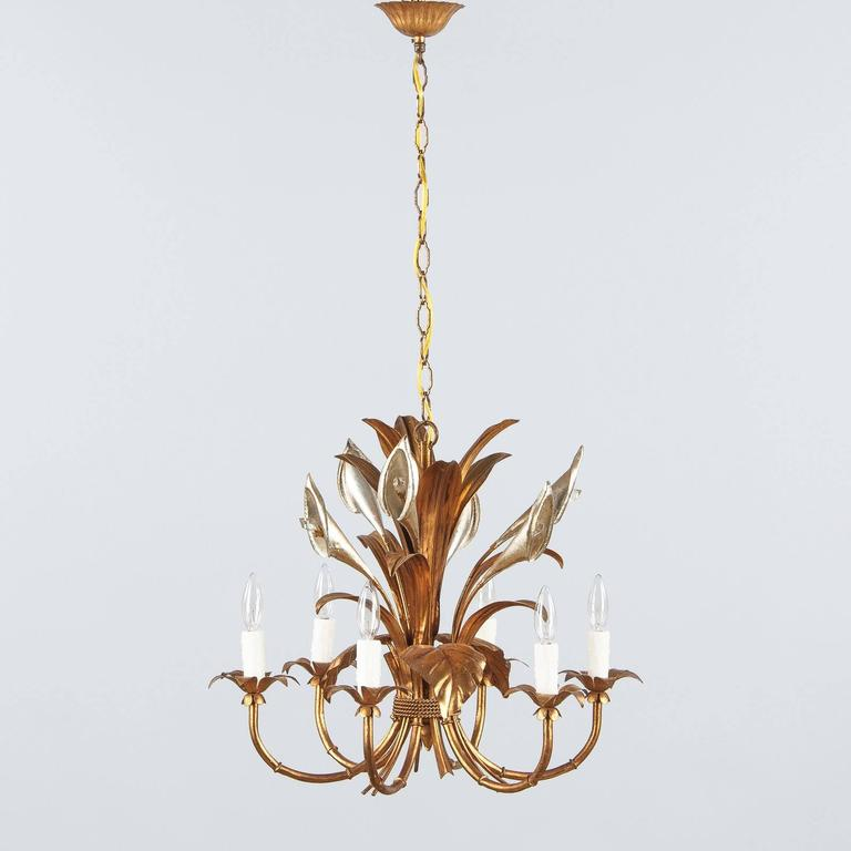 Gilt Pair of French Gilded Metal Chandeliers, 1950s For Sale