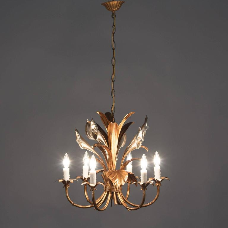 Mid-20th Century Pair of French Gilded Metal Chandeliers, 1950s For Sale
