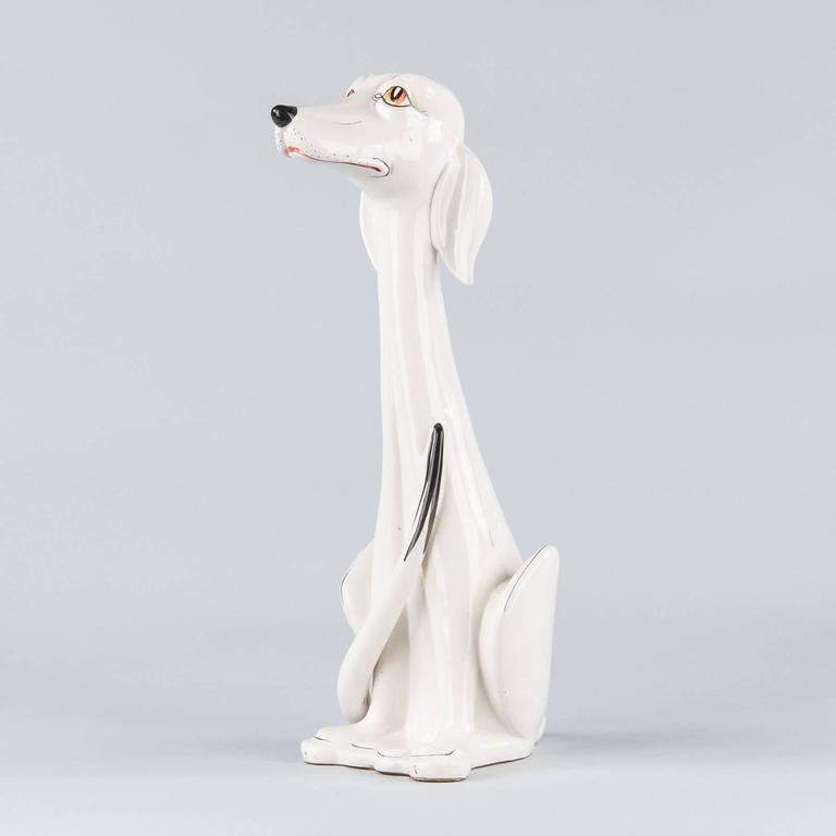French Ceramic Dog Figurine, 1960s For Sale 1