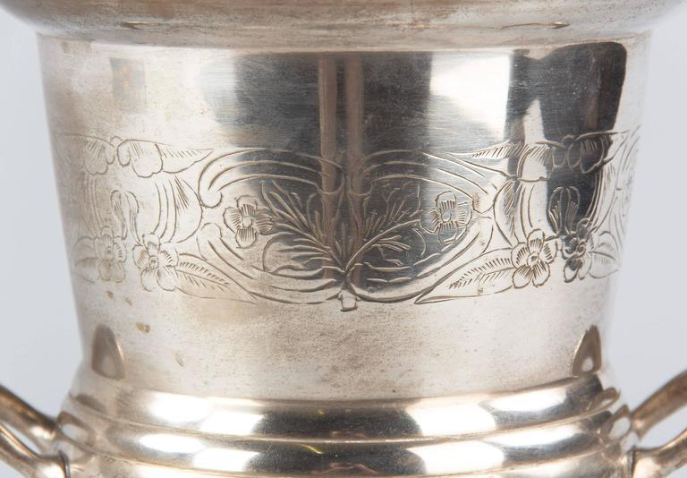 Early 20th Century French Silver Metal Champagne Ice Bucket, 1920s For Sale