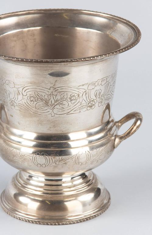 French Silver Metal Champagne Ice Bucket, 1920s In Good Condition For Sale In Austin, TX