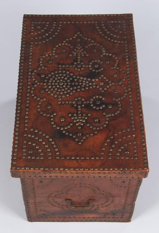Brass French Louis XIII Leather Trunk with Antique Nailhead Trim, Early 1800s For Sale