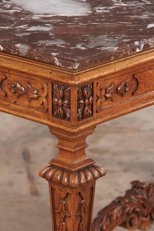 19th Century French Louis XIV Style Marble-Top Hunt Table In Good Condition For Sale In Austin, TX