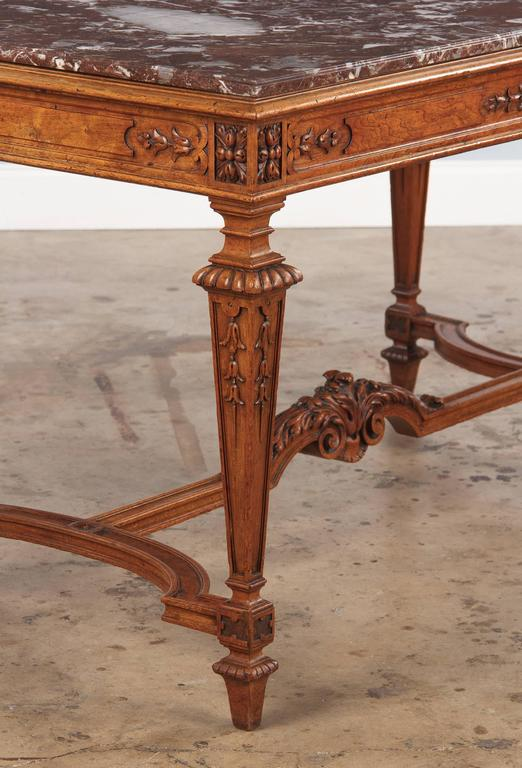 19th Century French Louis XIV Style Marble-Top Hunt Table 4