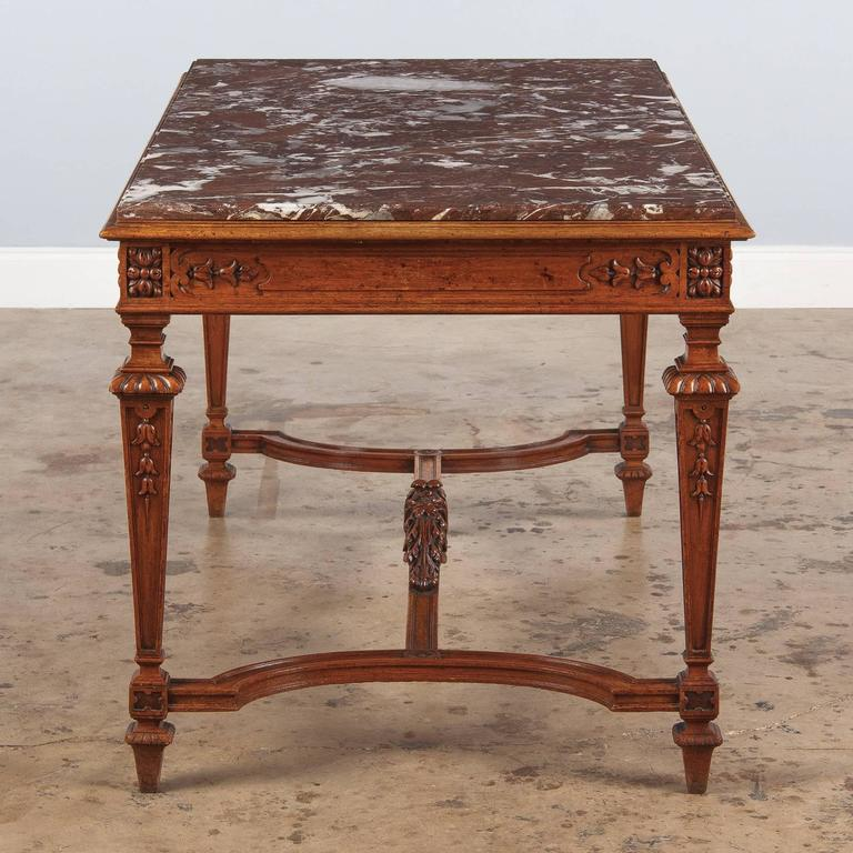 19th Century French Louis XIV Style Marble-Top Hunt Table For Sale 3