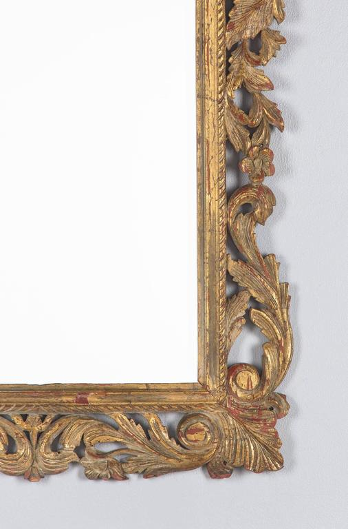 French Rococo Style Mirror With Gilt Wood Frame Early