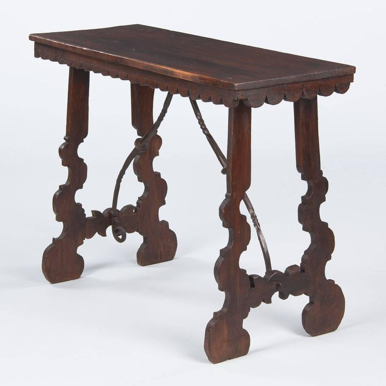 Spanish Pine Console Table with Iron Stretcher, Late 1800s For Sale 6