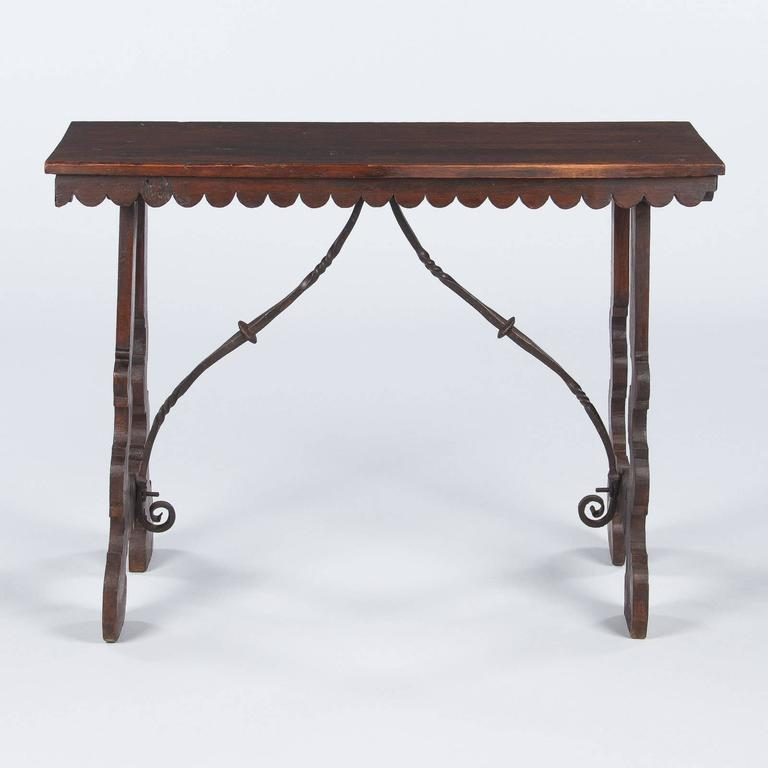 Spanish Pine Console Table with Iron Stretcher, Late 1800s For Sale 1