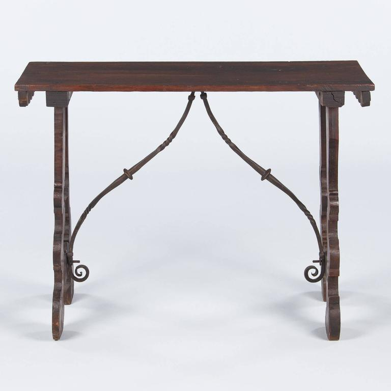 Spanish Pine Console Table with Iron Stretcher, Late 1800s For Sale 5