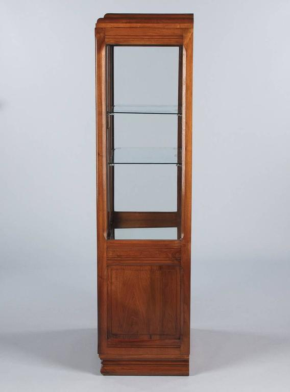 French Art Deco Walnut Display Cabinet or Bookcase, 1930s For Sale 4
