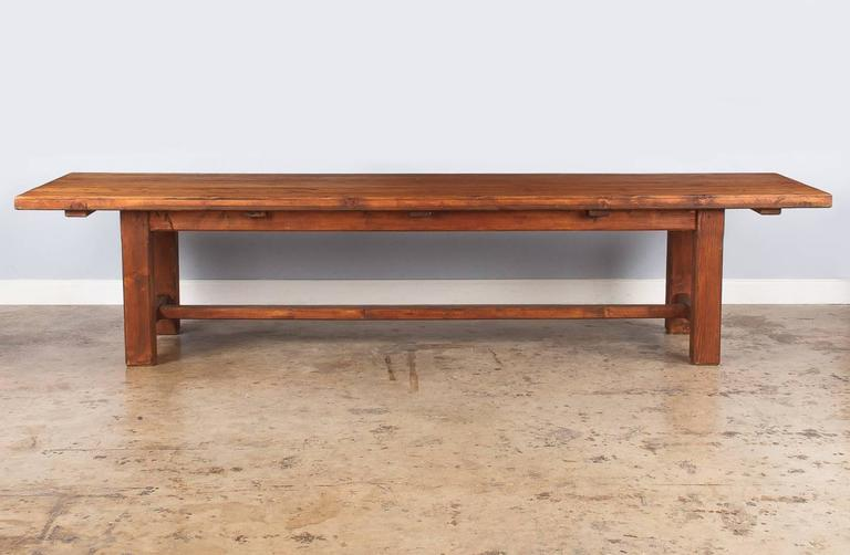 French Country Pine Long Farm Table, Early 1900s 4