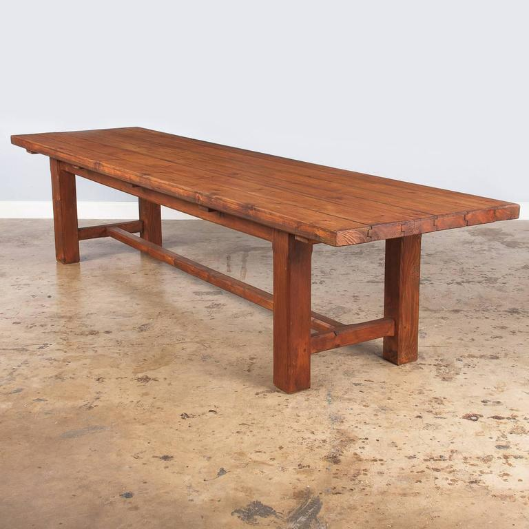 French Country Pine Long Farm Table, Early 1900s 9