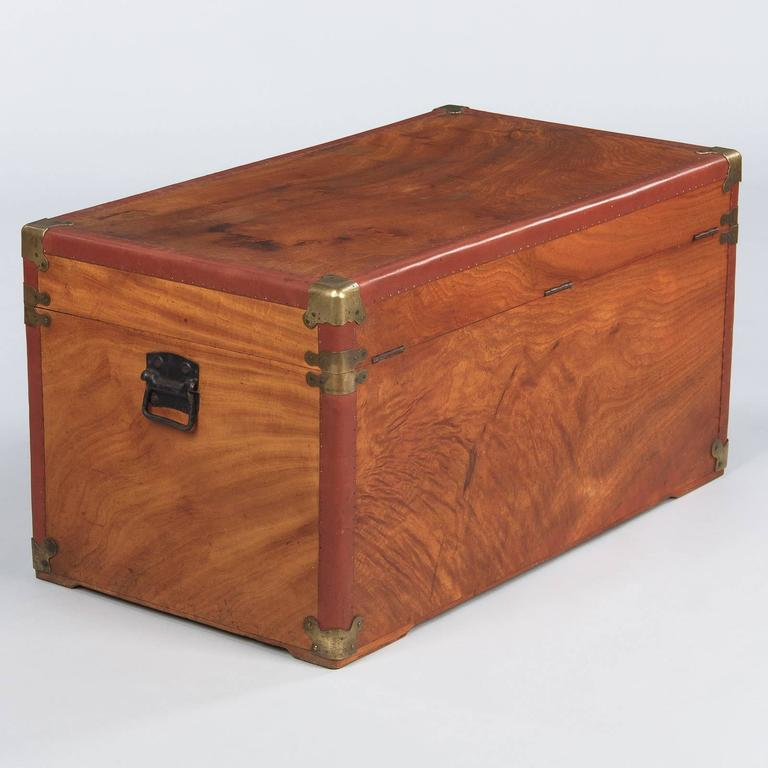 Camphor Wooden Trunk with Red Trim, Germany, 1920s 10