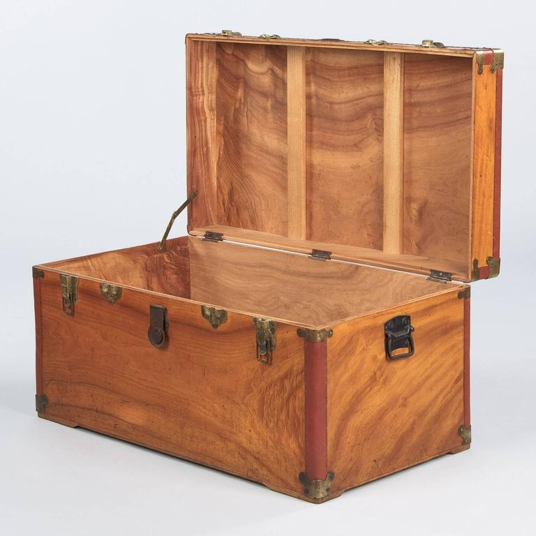 Camphor Wooden Trunk with Red Trim, Germany, 1920s 9