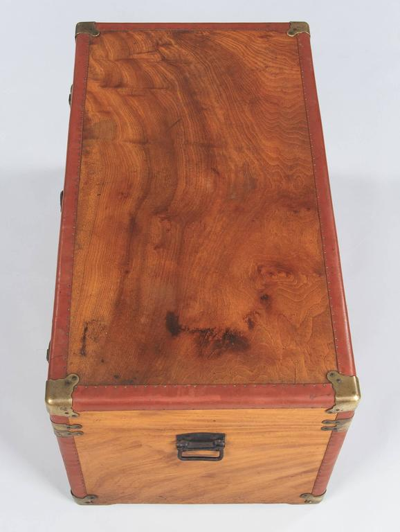 Camphor Wooden Trunk with Red Trim, Germany, 1920s 6