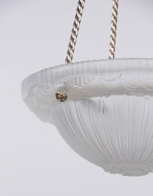 French Art Deco Frosted Glass and Nickel Pendant, 1930s For Sale 2