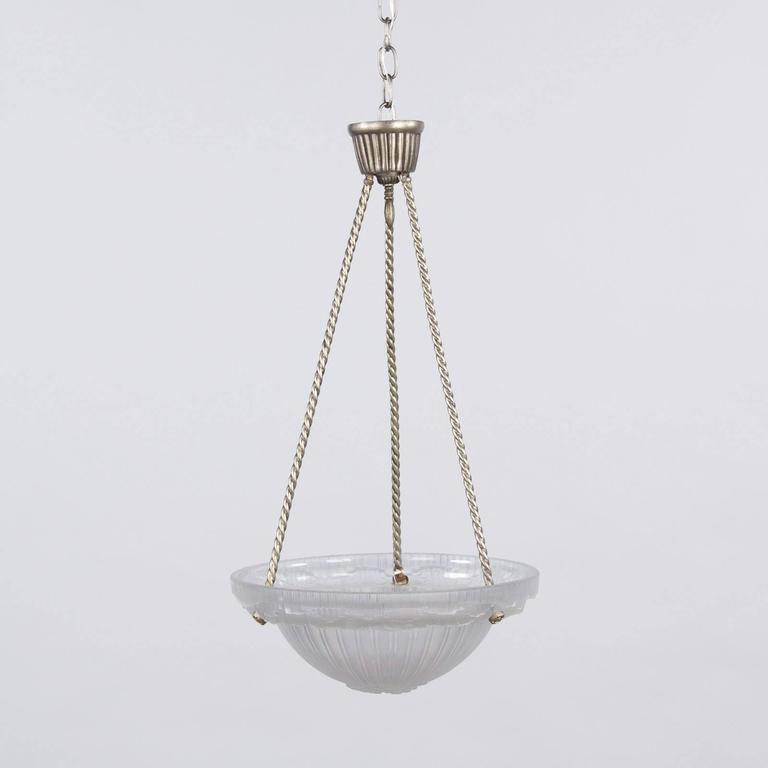 French Art Deco Frosted Glass and Nickel Pendant, 1930s For Sale 6