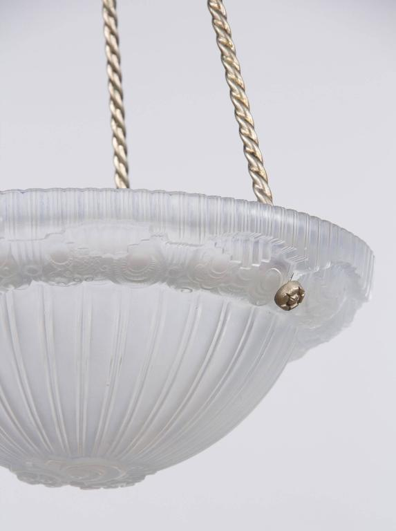 French Art Deco Frosted Glass and Nickel Pendant, 1930s For Sale 3